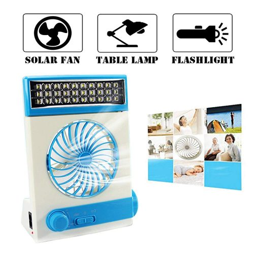 Ansee Solar Fan Camping Fan Cooling Table Fans 3 in 1 Multi-Function