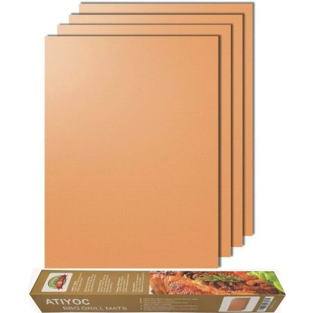 Atiyoc Copper Grill Mat, Set of 4 Non-Stick and Heat Resistant Baking Mats for Charcoal