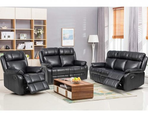 BestMassage Sofa Set Recliner Sofa 3 PCS Motion Sofa Loveseat Recliner Leather Sofa Recliner Couch Manual Reclining Chair3 Seater for Living Room