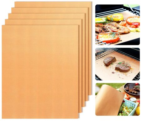 Copper Grill Mats Non-Stick BBQ Grill Mat Bake Mat Set of 5 Barbecue Grilling