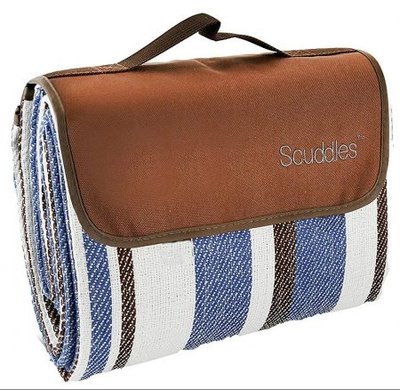 Extra Large Picnic & Outdoor Blanket Dual Layers for Outdoor Water-Resistant Handy Mat Tote Spring Summer Blue and White Striped Great