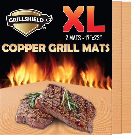 GrillShield Extra Large Copper Grill and Bake Mats Set of 2 - Best Gift