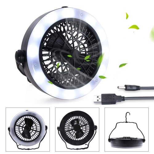 KEIMIX Camping Fan with Lights, USB Powered or Battery Operated