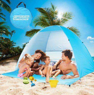 Large Beach Tent UV Pop up Sun Shelter Tents, Big Portable Automatic Sun Umbrella