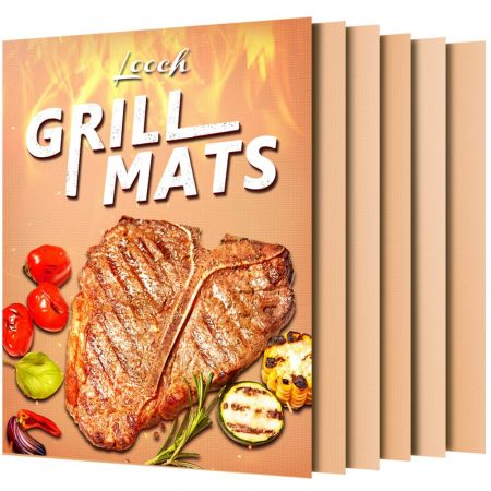 Looch Copper Grill Mat Set of 5- 100% Non-stick BBQ Grill & Baking Mats