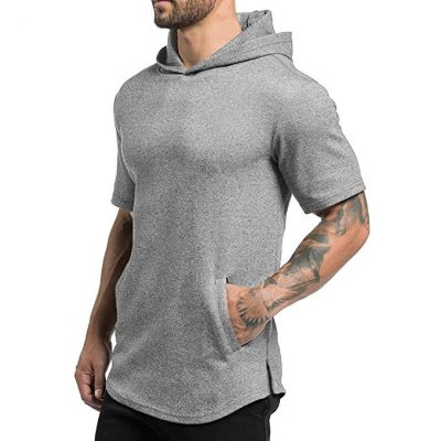 Magiftbox Mens Hipster Hip Hop Workout Short Sleeve Hoodies Pullover Hooded Gym Sweatshirts Kanga Pocket