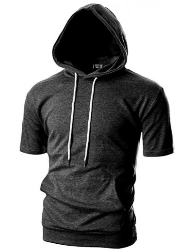 Ohoo Mens Slim Fit Short Sleeve Lightweight Hoodie with Kanga Pocket