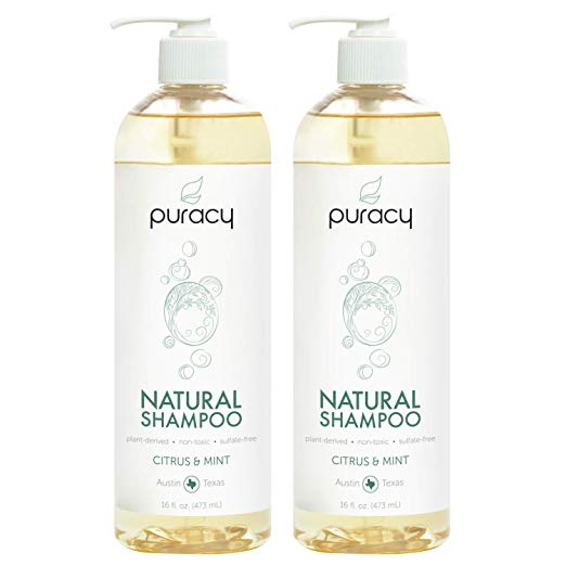 Puracy Natural Daily Shampoo, New Sulfate-Free Formula, All Hair Types, 16 Ounce
