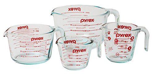 Pyrex 4-Piece Glass Measuring Cup Set with Large 8 Cup Measuring Cup-Glass Measuring Cups
