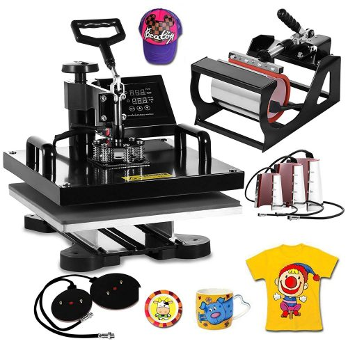 VEVOR Heat Press Machine15x15inch 8 in 1 Digital Multifunctional Sublimation Auto-Countdown Heat Presser for T Shirts Hat Mug