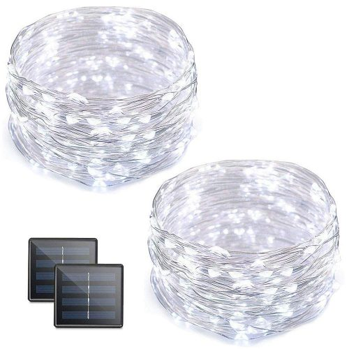 Vmanoo Solar String Lights, 32 Feet 100 LED Fairy Lights Copper Wire Starry String Lights, Indoor Outdoor Lighting for Home