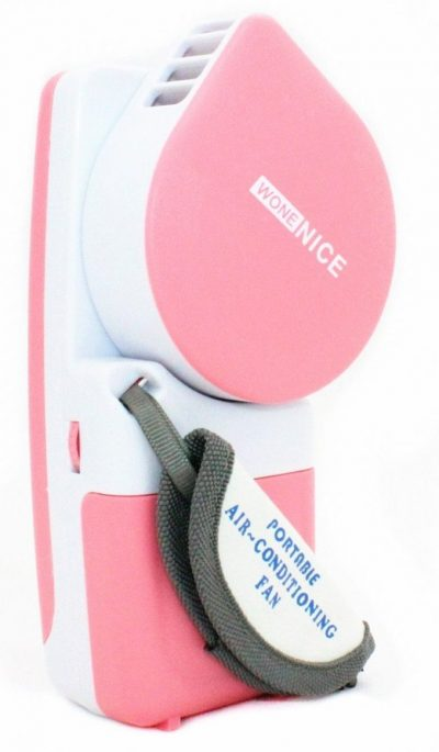 WoneNice Portable Small Fan & Mini-air Conditioner, Runs On Batteries Or USB-Pink