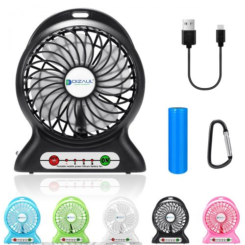 dizauL Portable Fan, Mini USB Rechargeable Fan with 2600mAh Battery Operated and Flash Light
