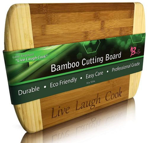 "BeeZen Bamboo Cutting Board - 14 x 10 inch - Engraved""Live Laugh Cook"