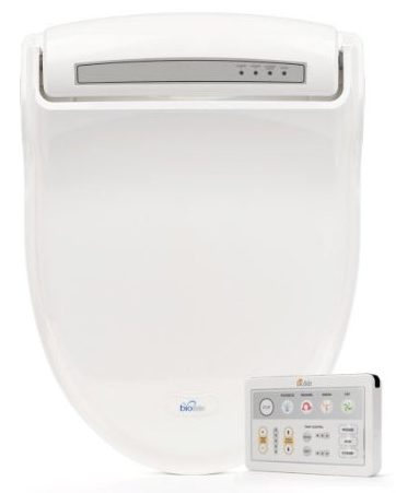BioBidet Supreme BB-1000 Elongated White Bidet Toilet Seat Adjustable Warm Water, Self Cleaning
