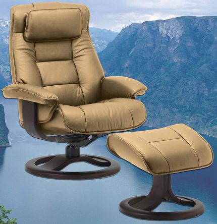 Fjords Mustang Large Leather Recliner and Ottoman