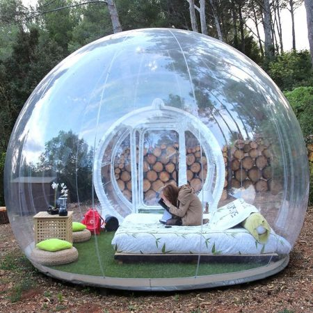 HHAiNi Outdoor Transparent Single Tunnel Inflatable Bubble Tent Family Camping Backyard