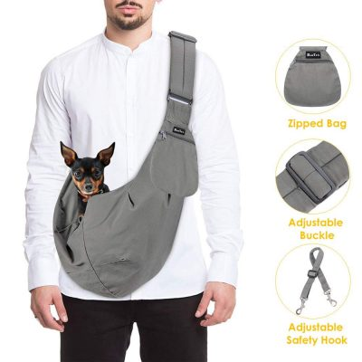 SlowTon Pet Carrier, Hand Free Sling Adjustable Padded Strap Tote Bag Breathable Cotton Shoulder Bag Front Pocket Safety Belt Carrying Small Dog Cat Puppy