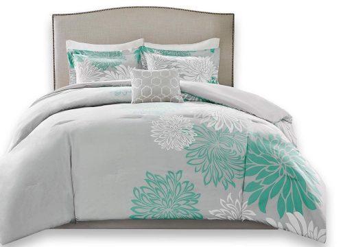 Comfort Spaces Enya 5 Piece Comforter Set Ultra Soft Hypoallergenic Microfiber Floral Print Bedding