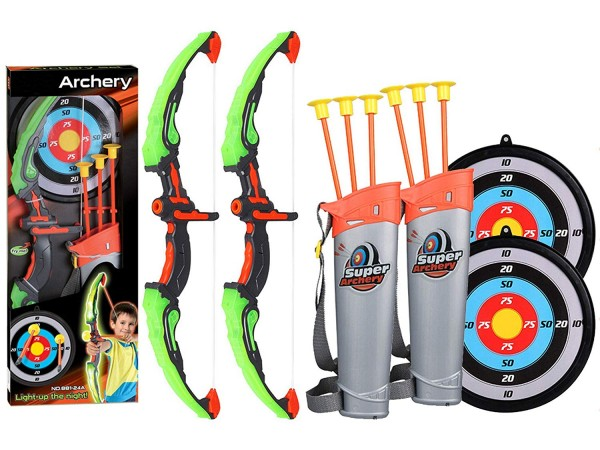#5 2 pack set kid archery bow arrow toy set with target