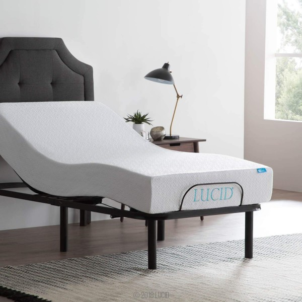 LUCID L100 Adjustable Bed Base Steel Frame