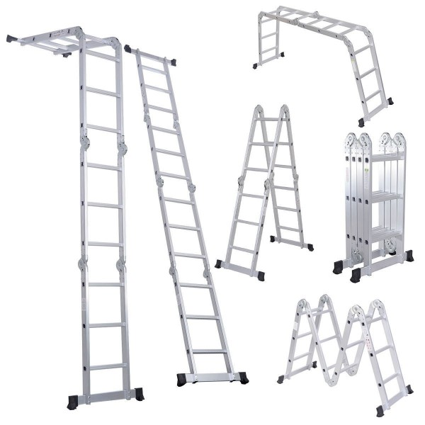 1.Luisladders Folding Ladder Multi-Purpose Aluminium Extension 7 in 1-Multipurpose Ladders