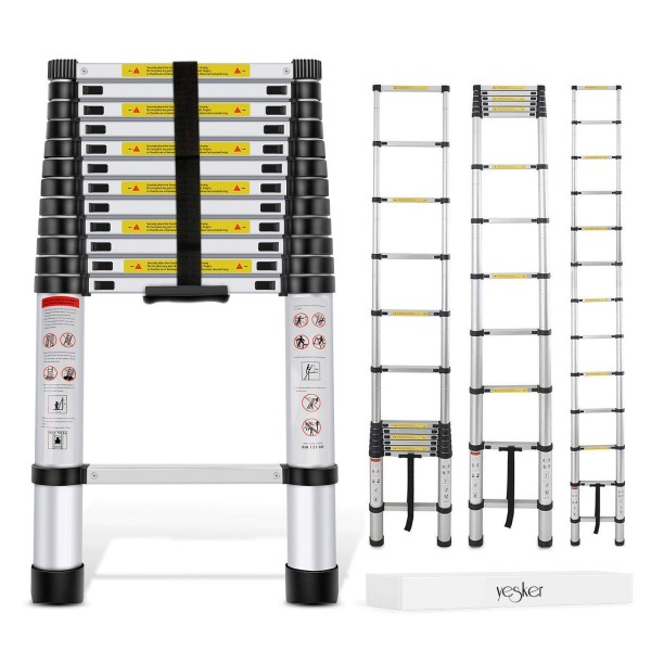 10.Yesker 12.5ft Telescoping Ladder Aluminum Telescopic Extension Multi-Purpose Ladder