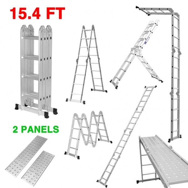 6.Finether 15.4ft Telescoping Ladder Multi-Purpose Aluminum Extension Ladder