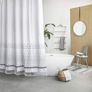YoKii Tassel Fabric Shower Curtain