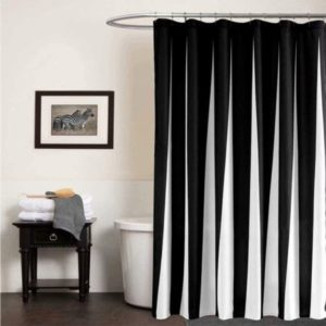 Fabric Shower Curtain Black and White Striped with Hooks