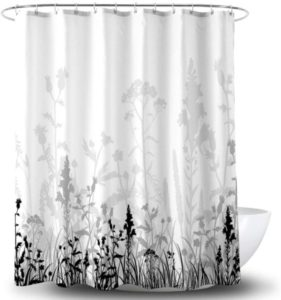 Black and White Flower Shower Curtain Liner