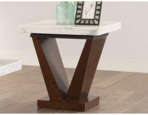 ACME Forbes End Table - - White Marble