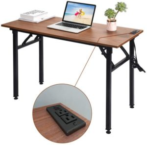 Frylr Folding Computer Desk with Plugs & USB Ports