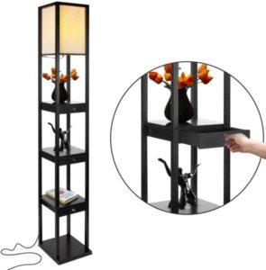 Shelf & LED Floor Lamp Combination