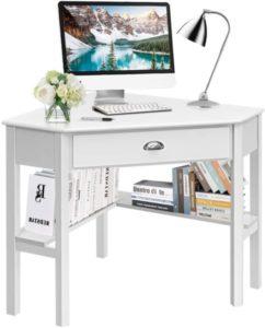 White Corner Desk, Corner Computer Desk with Drawer