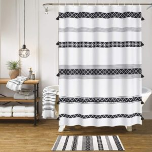 HAOCOO Tassel Boho Shower Curtain Black & White Fabric Shower Curtains