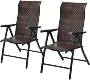 Tangkula 2 Piece Patio Rattan Folding Reclining Chair