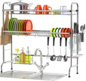 Veckle 2 Tier Dish Rack Standing Dish Drainer
