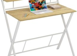 JSB Folding Computer Desk with Storage Shelf