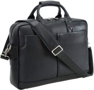 Genuine Full Grain Leather Men's 16 Inch Laptop Briefcase