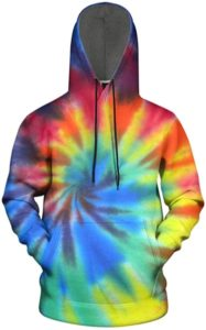 Mens Hoodies Pullover Unisex Tie-Dye Sweatshirts for Men
