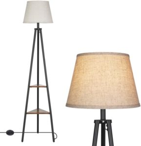 DEWENWILS 65 inch Industrial Tripod Floor Lamp with Shelves