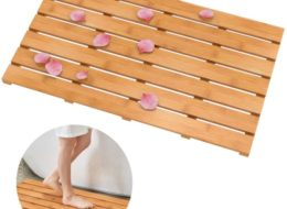 Domax Wooden Bamboo Bath Shower Mat