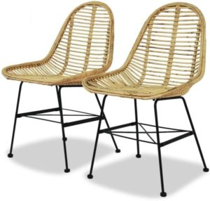 Dining Chair Natural Rattan Wicker