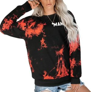Women's Tie Dye Oversize Pullover Top Casual Long Sleeve Sweatshirts