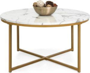 Best Choice Products 36in Faux Marble Modern Round Accent Side Coffee Table