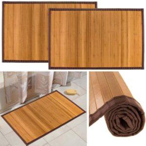 Bamboo (2 Pack) Non Skid Water Resistant Bath Floor Mats Non Slip Shower