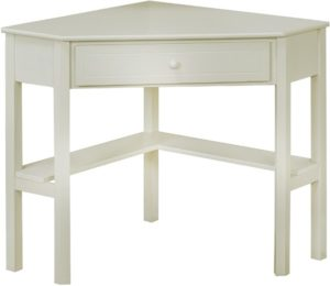 white corder desk with storage
