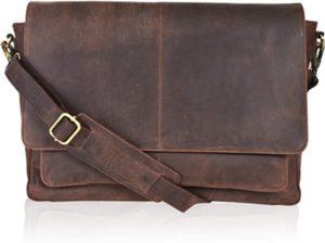 Leather Messenger Bag Locking Laptop Briefcase For Men