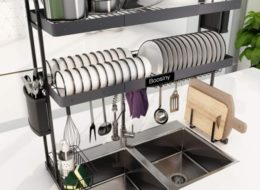 Over Sink Dish Drying Rack, Boosiny 2 Tier Stainless Steel Large Expandable Kitchen Rack